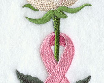 Awareness Rose with Pink Ribbon Embroidered on Plain Weave Cotton Tea Towel // Iron-on Patch // Kona Cotton Fabric Square