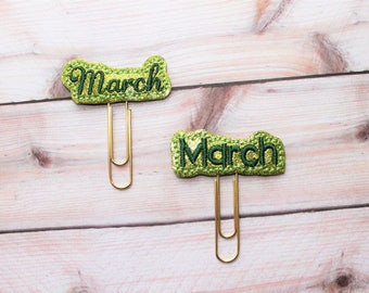 """March word vinyl planner paperclip, """"March"""" month bookmark, Choice of font March  vinyl planner paperclip, planner paperclip accessory"""