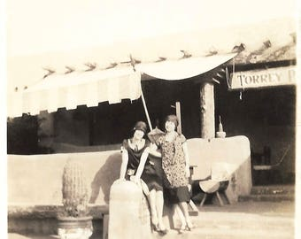 "Vintage Snapshots ""Torrey Pines"" Flappers Cloche Hat California Restaurant Bar Cactus Found Vernacular Photo"