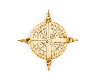 Compass, Craft Pirate,Pirate Decor, Laser Cut - 1qty - 4 x 4 Inch (10.16 x 10.16cm) -Wood Compass, DIY Crafts, Travel Crafts, Party Crafts