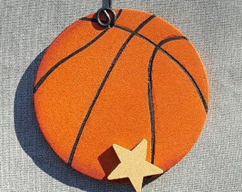 Basketball with Star Ornament/Gift Tag/Party Favor -- SP3
