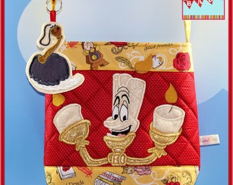 Disney Beauty and the Beast Lumiere Applique Crossvbody with Feather duster dangle/Keychain