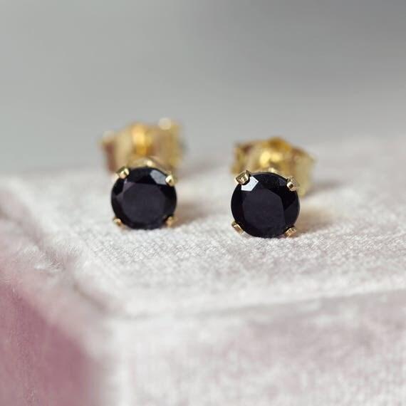 Black Spinel Earrings - Black & Gold Stud Earrings