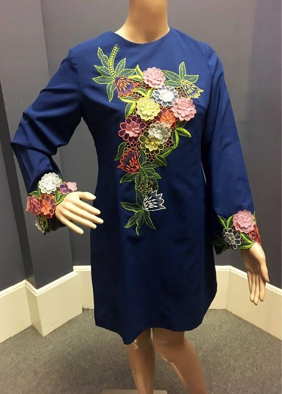Vintage 1960s Dark Blue Long Sleeve Mini Dress w Floral Appliqués XS