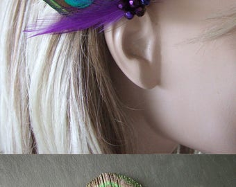 "Peacock Feather Green Purple Blue Fascinator Hair Clip Bridal ""Noa"" Ultra Violet - Bridesmaids Bride Flapper Gatsby Party Woodland Wedding"