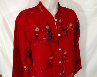 CHICOS DESIGN Asian Inspired Kimono Blouse Shirt SILK Women Size 1 M(8) Art Wear Vintage