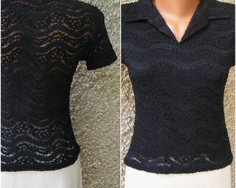 Vintage 90s LACE shirt, size S