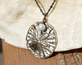 Vintaj Brass Sand Dollar Necklace, Sand Dollar Jewelry, Beach Jewelry, Patina Sand Dollar Necklace, Ocean Jewelry, Beach Boho, Sea Cookie