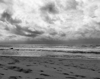 Large Black & White Beach Footprints Photograph, Digital Print, Wall Art, Home Decor, Download