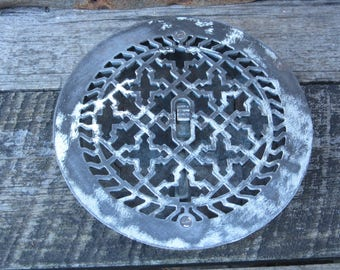 Antique Metal Heating Vent Cover DAMAGED White Round vtg Patina Victorian Register Plate Ornate Iron Metal Architectual Item Heating Grate