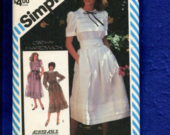 1980s Simplicity 5974 Cathy Hardwick Country Chic Dress Pattern Size 10 UNCUT