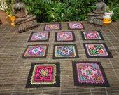 Hmong Hand Cross Stitch Textile,Set Of 10, Hand Needlework Patch, Hmong Textile,