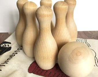 Wood Bowling Set with bag - Natural wood learning toy - Baby, Toddler, Child - ORGANIC