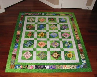 Colorful Reversible Floral Lap Quilt
