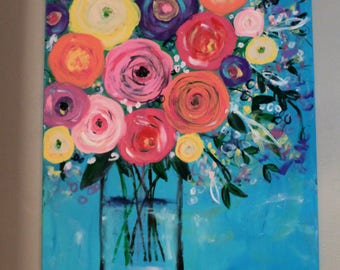 """Original abstract floral vase painting. Colorful vibrant flower art 24x30"""" acrylic"""