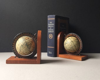 Vintage World Globe Wood Bookends, World Globe Bookends, Armbee San Francisco, Retro Bookends, Gift for Traveler, Mid Century Office, MCM