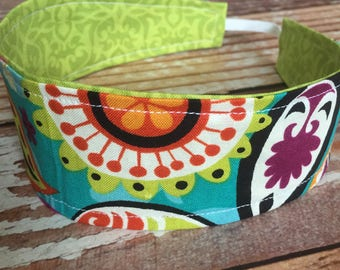 Reversible Fabric Headband - Children Toddler Girls - Turquoise Paisley/Lime Damask - READY TO SHIP