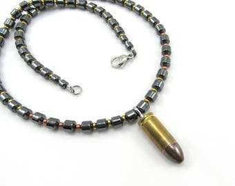 Men's Jewelry, Hematite Beaded Necklace, 9mm Bullet, Shell, Ammo Jewelry, Brass Copper, 9mm Luger