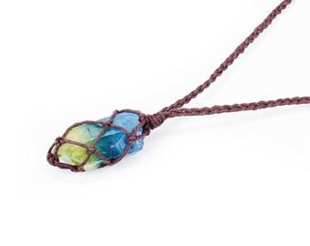 Crystal Statement Necklace, Eco Friendly Jewelry, Aura Quartz Necklace, Celestial Jewelry, Raw Crystal Necklace, Vegan Jewelry