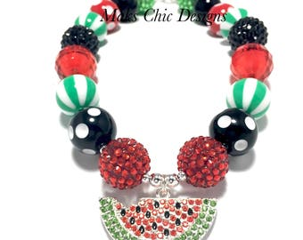 Toddler or Girls Watermelon Rhinestone Chunky Necklace - Fruit Necklace - Red, Black and Green Chunky Necklace - Red Watermelon Necklace