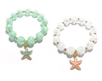 Toddler or Girls Small Beaded Starfish Charm Bracelet - Girls Turquoise Mermaid Bracelet - Beach Shell Bracelet - Coral Starfish Bracelet