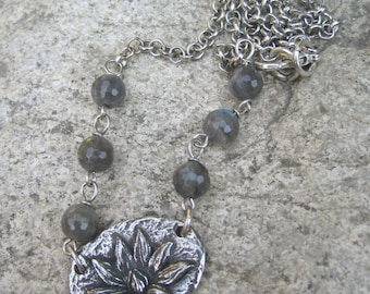 Lotus Charm Choker Necklace - Silver Finish Brass Lotus Charm and Labradorite Beaded Necklace