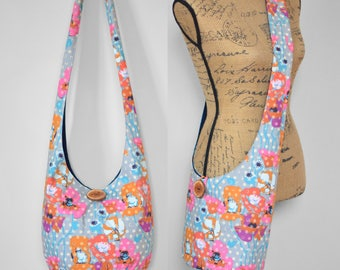 Hobo Bag Crossbody Bag Boho Bag Sling Bag Hippie Purse Hippie Bag Bohemian Purse Cross body Purse Boho Purse Hobo Purse Poppies Polka Dots