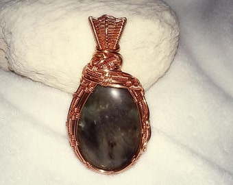 Gray Nebula Copper Wrapped Pendant Necklace / Wire Wrapped Jewelry