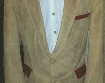 Custom tailored faux suede mens blazer 40r, with leather details
