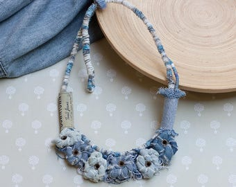 Eco-friendly jeans necklace, recycled textile jewelry, denim bib necklace, OOAK