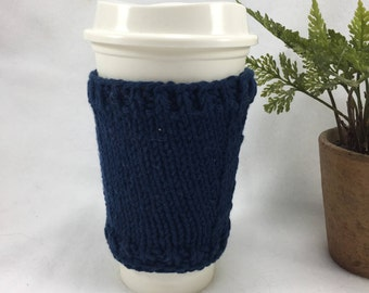 Coffee Cup Cozy Cup Sleeve Rustic Navy Blue Hand Knit Knitted Holder
