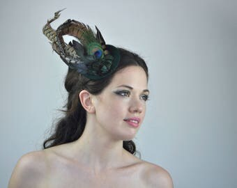 Feather Hat in Emerald Green Velvet with Black, Green and Gold Feathers