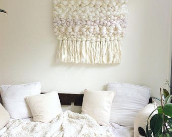 Wall hanging, white, woven wall hanging, texture