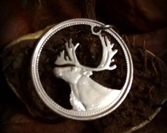 Caribou Canadian Moose Coin cut pendant necklace charm. All handmade upcycled canadian quarter