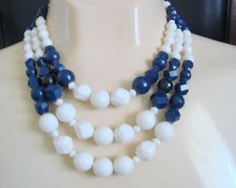 Vintage West Germany White & Navy Blue Bead Bib Necklace / Western Germany / W Germany / Jewelry / Jewellery