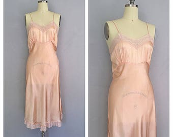 Peach Blossom slip | 1930s satin boudoir lingerie | 30s rayon and lace slip | m - l