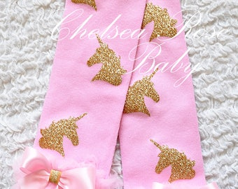 Pink gold UNICORN leg warmers, baby leg warmers, girls leg warmers, pink and gold birthday outfit, pink and gold leg warmers, leggings