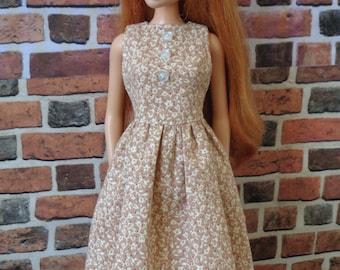 Tan Vintage Floral Print Dress w/ Tie Belt for Barbie or similar fashion doll