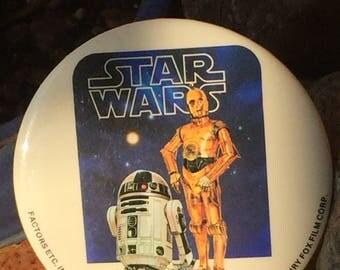 Vintage Original Star Wars 1977 C3PO, R2D2 Pinback Button