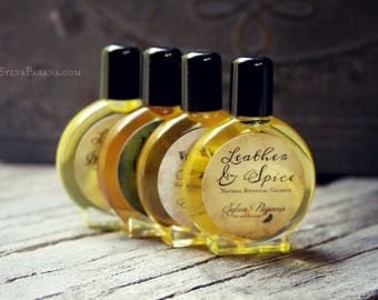 Natural cologne organic - LEATHER AND SPICE - clove allspice leather cologne  - choose size