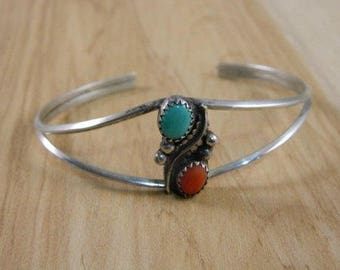 Vintage Sterling Silver, Turquoise and Coral Indian Bracelet / Native American Blue Turquoise and Red Coral Cuff / Petite Cuff Bracelet