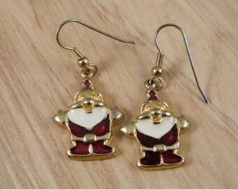 Vintage Santa Christmas Earrings / Santa Claus Pierced Hook Earrings / Jolly Saint Nick Jewelry / Holiday Earrings
