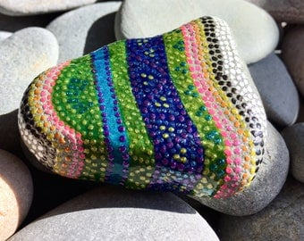 sparkly candy mountain/painted stones/painted rocks/ paperweights/ dot art / dot rocks / sparkle art /tiny art / sea stones / hippie /rocks