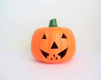 Halloween Jack O Lantern Ceramic Happy Pumpkin for Votive or Battery Operated Candle