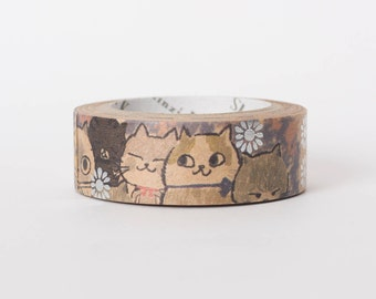 Japanese washi tape - kraft paper - masking tape - Sugar Cats by Shinzi Katoh