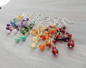 Rainbow Earrings Silver Gemstone Dangle Earrings Long Fun Earrings Handmade Jewelry Gift for Her Boho Gypsy Earrings Colorful  Earrings