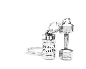 Peanut Butter and Dumbbell Keychain - Dumbbells and Peanut Butter - Will Lift for Peanut Butter Fitness Trainer