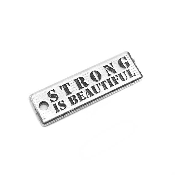 Strong is Beautiful Charm - Add a Charm to a Custom Charm Bracelets, Necklaces or Key Chains - Fitness Motivation - Strength Jewelry