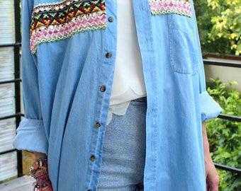 chemise vintage jean broderies ethnique