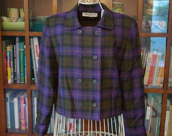 SALE / Purple wool plaid boxy cropped double-breasted jacket / Amanda Smith/ Clueless vibes brown black 1990s size 10 L vintage warm